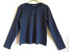 MARIMEKKO Khaki Green Blue Striped Shirt Cotton Shirt Nautical Top Long Sleeves…