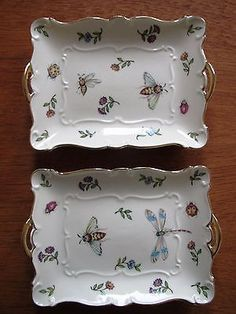 Porcelain Trays Candy Dish Set 2 Bees Dragonfly Garden Whispers Skye Mcghie | eBay