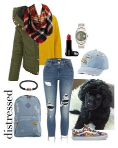 """""""Distressed Denim"""" by tonia-ro ❤ liked on Polyvore featuring American Vintage, River Island, Vans, LE3NO, Herschel, Bling Jewelry, Ciel, Sylvia Alexander and SO"""