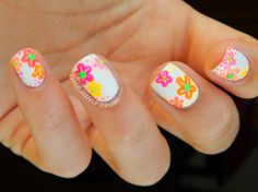 Neon Flower Nails - Peace, Love & Polish