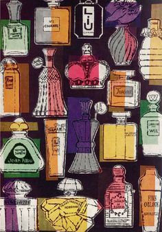Before he was famous, Andy Warhol was a prolific illustrator for advertising clients and glossy magazines. I love the colour placements in this illustration for a Harper's Bazaar fragrance commision from 1956