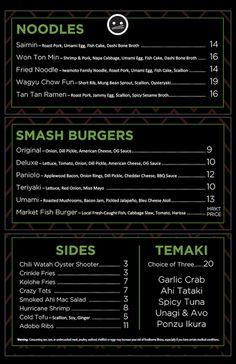 Havens Menu serving noodles, smash burgers, sides and temaki in North Kihei, Maui. #kihei #maui #mauirestaurants #smashburgers #saimin Tan Tan Ramen, Smash Burgers, Maui Restaurants, Dashi Broth, Napa Cabbage, Mung Bean, American Cheese