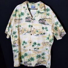 19e667ec RJC Mens Hawaiian Shirt 3XL Yellow Palm Trees Aloha Island Grass Hut  Surfing USA #RJC