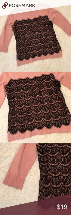"Rose Gold Black lace fringe 3/4 sleeve top New condition Roz & Ali Rose Gold Lace fringe front   3/4 sleeve. Rayon/Nylon material. Size Large. Armpit to armpit 20.5"" armpit to bottom Hem 17.5.  Bin 12 Roz & Ali Tops"