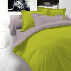 Green & Blue - Cotton Reversible Bed Linen Set (Duvet Cover & Pillow Cases) / SoulBedroom Home Textile - quality bedding, duvet covers, pillow cases, fitted sheets, flat sheets Cotton Bedding Sets, Bed Linen Sets, Comforter Sets, Hotel Collection Bedding, Black Bed Linen, Cheap Bed Sheets, Bedding Sets Online, House Beds, Small Room Bedroom