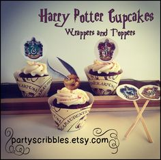 Harry Potter Inspired Party Cupcake Wrappers & by PartyScribbles, $5.00. For my Harry Potter party!