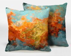 A pair of toss pillows with abstract art 16x16 18x18 by ArtPillow, $80.00