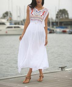 Look at this #zulilyfind! White Floral Embellished Maxi Dress #zulilyfinds