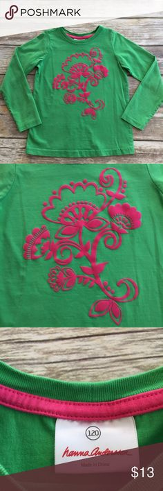 Hanna Andersson Flocked Shirt Green long sleeve tee with pink Flocked flowers on front. Excellent condition. Size 120 Hanna Andersson Shirts & Tops Tees - Long Sleeve