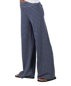 Take a look at this Navy Stripe Margo Pants - Plus Too today!