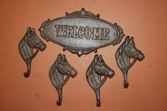 (5), RUSTIC AMERICANA FRONT DOOR DECOR CAST IRON WELCOME SIGN & HOOKS, N-44,W-18 #CASTIRONCOUNTRYWESTERNDECOR