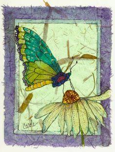 Original Batik Giclee, A Butterfly Enjoying the Nectar of a White Coneflower,11x14 #art #Batik #butterfly