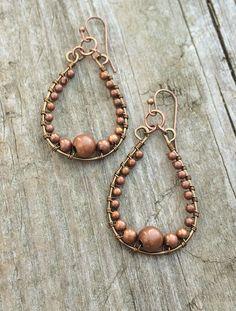 Copper Hoop Earrings, Wire Wrapped Copper Jewelry