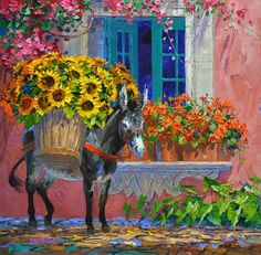 Burro with Sunflowers on back Tile Murals, Tile Art, Watercolor Illustration, Watercolor Paintings, Let's Make Art, Large Art Prints, Mexican Art, Wall Wallpaper, Art Photography