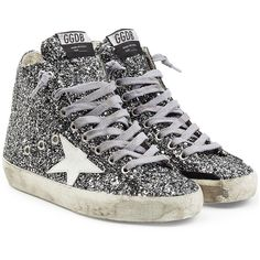 Golden Goose Francy High-Top Glitter Sneakers ($325) ❤ liked on Polyvore featuring shoes, sneakers, high top shoes, leather shoes, hi tops, glitter high tops and golden goose sneakers