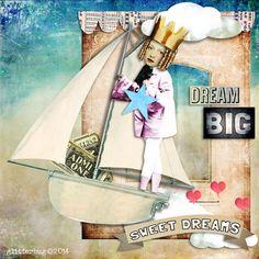 Dream Big piece using Tumble Fish Studio's Dreams-Cloud 9 kit available at Deviant Scrap