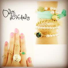 「GREEN ITEM #accessory #bracelet #ring #stone #green #old #onlylovedaily」