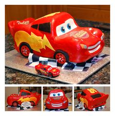 Lightning McQueen 3D Car Cake by sweetcivic.deviantart.com