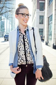 excellent layering. top and open chambray under jacket