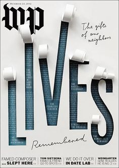 Lives Remembered - Washington Post Magazine December 2012 cover. Art Director: Beth Broadwater