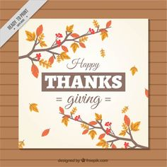 Branches thanksgiving card with dry leaves Free Vector