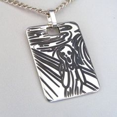 The Scream Pendant (EP-0015). Engraved 'The Scream'. Engraved from a silver ingot and the background has a dark grey patina. ~ 24 x 18mm. http://www.chain-me-up.com.au/