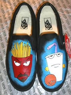 Handpainted Aqua Teen Hunger Force Shoes by WalkingDeadApparel Aqua Teen Hunger Force, Painted Shoes, Material Girls, Fashion News, Kicks, Shoes Sneakers, Vans, Swimming, Slip On