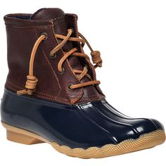SPERRY TOP-SIDER Saltwater Core Waterproof Boot Navy (89 CAD) ❤ liked on Polyvore featuring shoes, boots, ankle booties, ankle boots, navy rubber, waterproof ankle boots, navy ankle boots, leather lace up booties, waterproof boots and low heel booties