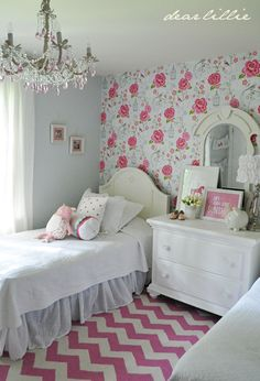 Little girl bedroom makeover. Love the pink patterns and coordinates! @Jenn L Crotty Holmes - Dear Lillie