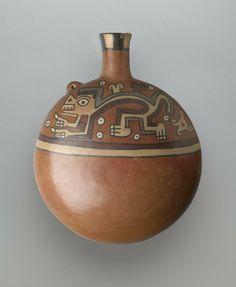 Canteen-Shaped Vessel -  Culture: Wari. Medium: Ceramic, slip, pigments. Place Made: Peru. Dates: 650-1000 C.E. Period: Middle Horizon.