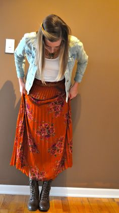 Denim Jacket and Vintage Floral Pleated Skirt