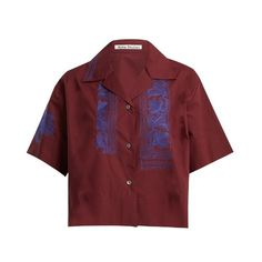 Acne Studios Livvi Pop floral-embroidered cotton top (5,710 MXN) ❤ liked on Polyvore featuring tops, burgundy, red short sleeve top, embroidered shirts, red cotton shirt, cotton embroidered tops and short sleeve tops