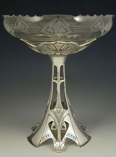 WMF  Silver-plate on pewter & cut glass tazza  Germany  c.1906