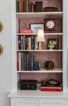Small Bookshelf, Wall Bookshelves, Bookshelf Design, Book Shelves, Bookcases, Bookshelf Styling, Contemporary Wall Sconces, Modern Wall Lights, Room Planning