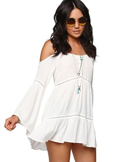 Beige Cold Shoulder Long Sleeve Crochet Insets Tunic Dress - Fashion Clothing, Latest Street Fashion At Abaday.com