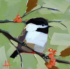 Chickadee no. 607 original bird oil painting by Angela Moulton prattcreekart