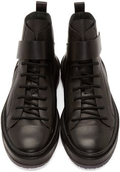 Ann Demeulemeester Black Leather Strapped High-Tops