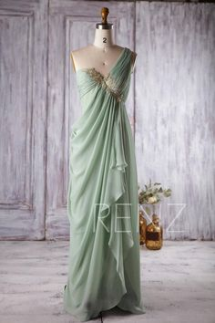 Dusty Mint Chiffon Bridesmaid Dress, One Shoulder Wedding Dress with Golden Lace, Asymmetric Draped Prom Dress Floor Length Bridesmaid Dresses, Prom Dresses, Formal Dresses, Wedding Dresses, Bridesmaids, Chiffon Dresses, Chiffon Gown, Fall Dresses, Long Dresses