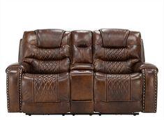 Ballard Power Console Loveseat W Power Headrest Love Seat Headrest Leather Reclining Sofa