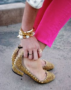 Love these shoes. I wear them anytime I want to look down at my feet and smile. They get 'em coming and going!     They look super cute with these hot pink pants!
