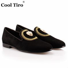 COOL TIRO Fashion Roud Toe Black Kid Suede Handmade loafers Dress Shoes Skull and crossbones Casual Smoking Slippers men Shoes(China)