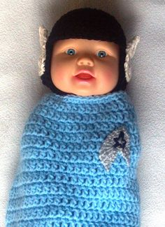Spock Hat and Swaddler Cocoon Crochet Pattern by ExpertCraftss, $4.95 BY ExpertCraftss @ Etsy: Please note this is for the PATTERN ONLY. This Spock inspired hat and swaddler cocoon set is perfect for Star Trek fans! Makes a great newborn photo prop, boys or girls. A unique gift and great for every day snuggling. Download immediately once payment is made! IMPORTANT INFORMATION: You are welcome to sell any finished products made from my patterns...
