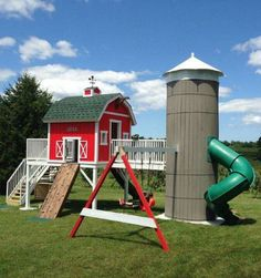 Farmhouse playset with silo slide