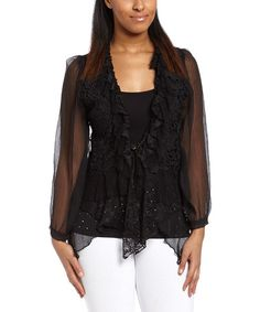 Another great find on #zulily! Black Floral Lace Linen-Blend Bolero - Women by Pretty Angel #zulilyfinds