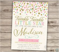 A personal favorite from my Etsy shop https://www.etsy.com/ca/listing/266955502/twinkle-twinkle-little-star-birthday