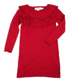 Love this Red Milly Frill Dress - Girls by Petit De Nimes on #zulily! #zulilyfinds