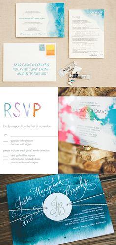 Texture in type. Monogram tied over invite. .. Stefan Sisters: Watercolor Invitation Suites