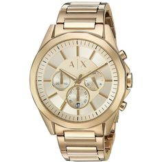 Shop for Armani Exchange Men's 'Dress' Chronograph Gold-Tone Stainless Steel Watch. Get free delivery On EVERYTHING* Overstock - Your Online Watches Store! Armani Watches For Men, Best Watches For Men, Luxury Watches, Armani Men, Big Watches, Cool Watches, Stainless Steel Watch, Stainless Steel Bracelet, Nato Strap