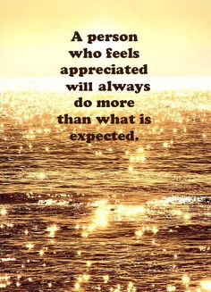A person who feels appreciated will always do more than what is expected. www.gracetheday.com