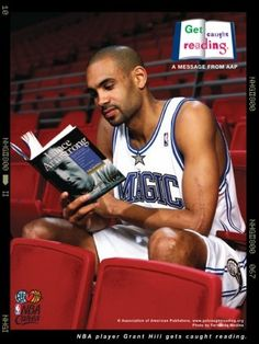 Grant Hill of the Orlando Magic Good Books, Books To Read, Reading Posters, Reading Books, Celebrities Reading, Little Free Libraries, Free Library, Library Ideas, Got Caught